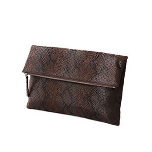 FOLD OVER CLUTCH - BROWN
